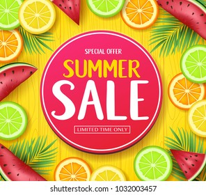 Special Offer Summer Sale in Circle Tag Poster with Tropical Fruits Such as Orange, Lime, Lemon and Watermelon in Yellow Wood Background with Palm Tree Leaves Vector Illustration. For Promotional