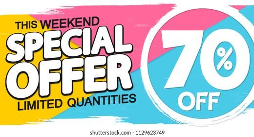 Special offer, Summer Sale, poster design template, 70% off, vector illustration