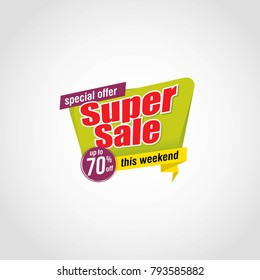 Special offer super sale badge isolated vector illustration. Discount offer price label, sale promo 70% off discount sticker.