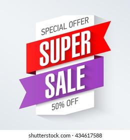 Special Offer Super Sale banner design template. Big super sale, save up to 50%. Vector illustration.