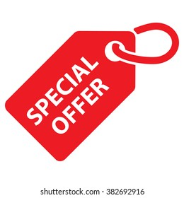 Special offer tag. Red color. Vector illustration.