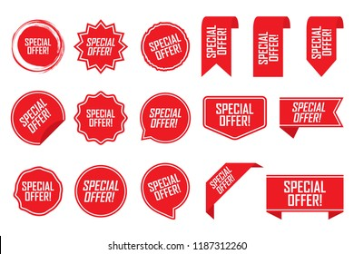Special offer tag set in red. Vector illustration.
