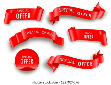 Special offer vector ribbon.Red scroll. Banner sale tag. Market special offer discount.