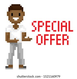 Special offer white page, man with dark skin shooting, portrait view of smiling male character, geometric person, pixel game, pixelated hero vector