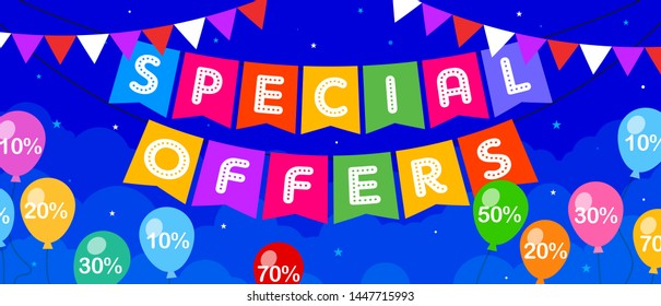 Special Offers Discount Card Concept, Sale, Offer, Greeting, Coupon, Template, Banner, Logo Design, Icon, Poster, Offer, Label, Web Header, Mnemonic with party balloons in background-Vector