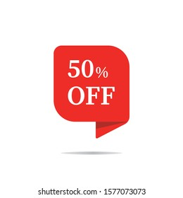 Special offers discount stickers. Tag sale with the price is 50. Ad offer on shopping day Red vector banner.