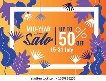 special offers and promotion banner. Mid Year Sale, Summer Sale. Promotion template design usable for print or web, banner and poster