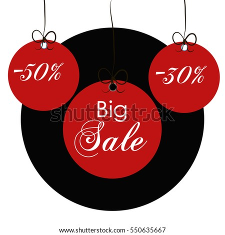 d2d16f207 Special offers vector tags. New year holiday card template. Shop Market  poster design. Big sale tag round black banner. Label tag hanging a  collection of ...