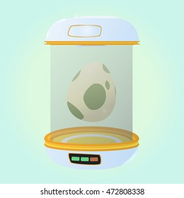 Special place for eggs. Incubator for eggs. Hatchery with egg. Vector illustration.