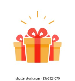 Special prize, reward gifts, surprising present box, yellow gifts with red ribbon, bonus concept, loyalty program, group of three objects, vector flat icon