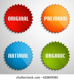 Special Round Offer Sticker and Tag Vintage. Origami paper infographic colorful banners set. Annotation ribbon. Design shape. Speech talking cloud. Vector label tag.