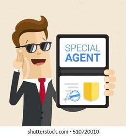Special services agent shows identity. Man in black. Vector, illustration, flat.