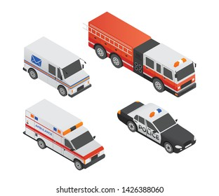 Special transport vehicles - modern vector isometric colorful elements. High quality set of objects. Police car, ambulance, mail truck, fire engine. Urban transport concept