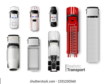 Special vehicles top view realistic set isolated vector illustration