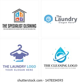 The specialist cleaning laundry logo with broom hanger clothes and droplet water suitable for maintenance business company