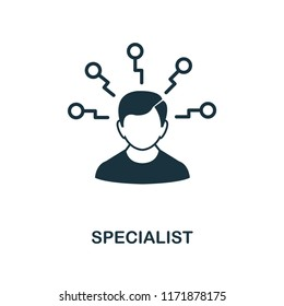 Specialist icon. Monochrome style design from management collection. UI. Pixel perfect simple pictogram specialist icon. Web design, apps, software, print usage.