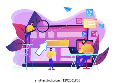IT specialist identify user across mobile, laptop and tablet. Cross-device tracking and capability, cross-device using concept on white background. Bright vibrant violet vector isolated illustration
