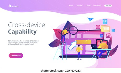 IT specialist identify user across mobile, laptop and tablet. Cross-device tracking and capability, cross-device using concept on white background. Website vibrant violet landing web page template.
