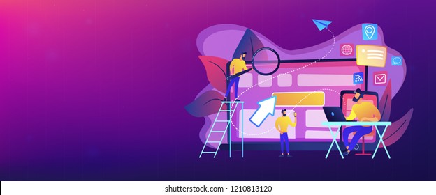 IT specialist identify user across mobile, laptop and tablet. Cross-device tracking and capability, cross-device using concept on white background. Header or footer banner template with copy space.