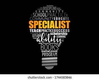 SPECIALIST light bulb word cloud collage, education concept background