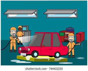 Specialist spray painting car body collision repair shop. Flat vector style.