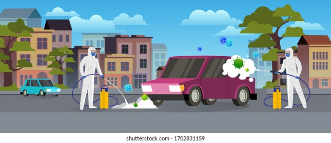 Specialists in protective suits clean and disinfect the car on the city street. Pandemic coronavirus covid-19 concept. Flat style city landscape.