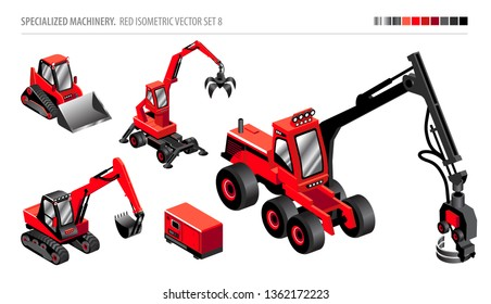 SPECIALIZED MACHINERY. ISOMETRIC VECTOR SET.