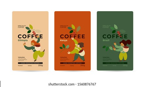 Specialty coffee packaging design concept. Set of labels, emblem for hand roasted coffee beans. Vector illustration of happy pickers are harvesting ripe red berries. Mockup for pack, ad, presentation.