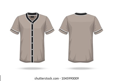 Specification Baseball T Shirt brown black Mockup  isolated on white background , Blank space on the shirt for the design and placing elements or text on the shirt , blank for printing , illustration