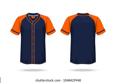 Specification Baseball T Shirt Dark Blue orange Mockup isolated white background , Blank space on the shirt for the design and placing elements or text on the shirt , blank for printing , illustration