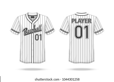 Specification Baseball T Shirt Mockup  isolated on white background , A sample design elements or text number on the shirt , blank for printing , vector illustration