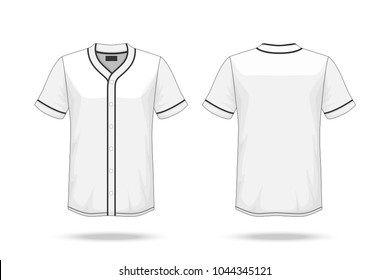 Specification Baseball T Shirt Mockup  isolated on white background , Blank space on the shirt for the design and placing elements or text on the shirt , blank for printing , vector illustration