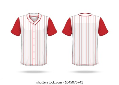 Specification Baseball T Shirt white red Mockup  isolated on white background , Blank space on the shirt for the design and placing elements or text on the shirt , blank for printing , illustration