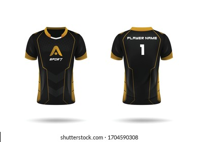 Specification Soccer Sport , Esport Gaming T Shirt Jersey template. mock up uniform . Vector Illustration design