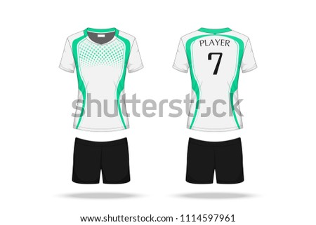 6b4adcb4 Specification Volleyball Jersey isolated on white background , Sport T Shirt  round neck and short pants