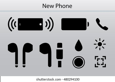 Specifications of modern mobile phone. Stereo speaker in phone, battery charge, light connector, new home button, water splash resistance. Silver background. Vector icon set.
