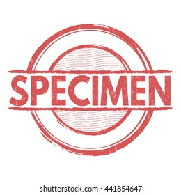 Specimen grunge rubber stamp on white background, vector illustration