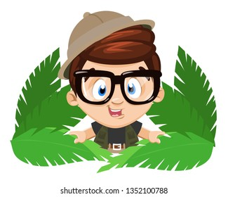 Spectacled little boy scout in safari outfits emerge from behind big tropic leaves. Young naturalist, biologist, discoverer. Cartoon stock vector illustration isolated on white background.