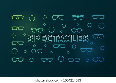 Spectacles colorful horizontal linear illustration. Vector modern banner made with glasses and eyeglasses outline icons on dark background