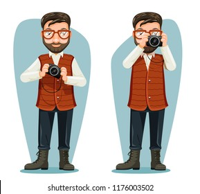 Spectacles journey photographer travel news blogger camera cartoon character design vector illustration