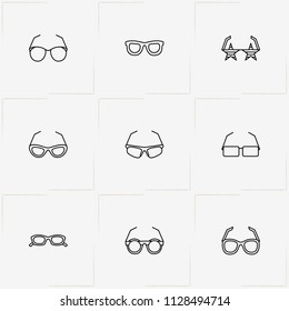 Spectacles line icon set with rock star spectacles, sport spectacles and spectacles
