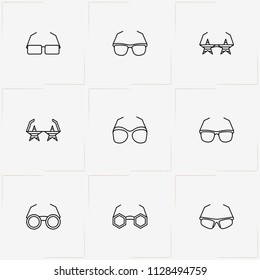 Spectacles line icon set with spectacles, rock star spectacles and sport spectacles