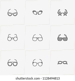 Spectacles line icon set with rock star spectacles, spectacles and sport spectacles