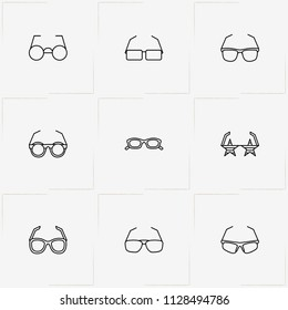 Spectacles line icon set with spectacles, sport spectacles and rock star spectacles