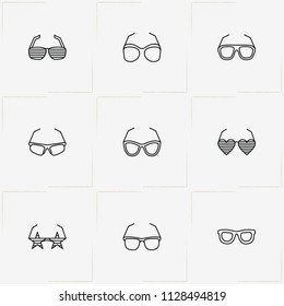 Spectacles line icon set with sport spectacles, spectacles and rock star spectacles
