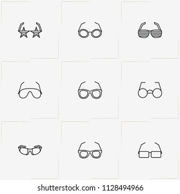 Spectacles line icon set with sport spectacles, rock star spectacles and spectacles