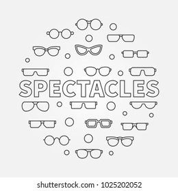 Spectacles round linear illustration. Vector modern circular sign made with glasses and eyeglasses outline icons