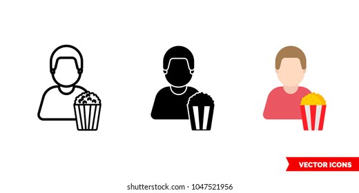 Spectator viewer icon of 3 types: color, black and white, outline. Isolated vector sign symbol.