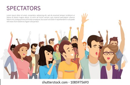 Spectators isolated on white vector illustration, lot of cheerful people with rising hands and holding their mobile devices, happy emotional crowd
