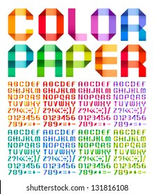 Spectral alphabet folded of ribbon paper colour. Set from eight different colors. A, B, C, D, E, F, G, H, I, J, K, L, M, N, O, P, Q, R, S, T, U, V, W, X, Y, Z. Vector illustration.
